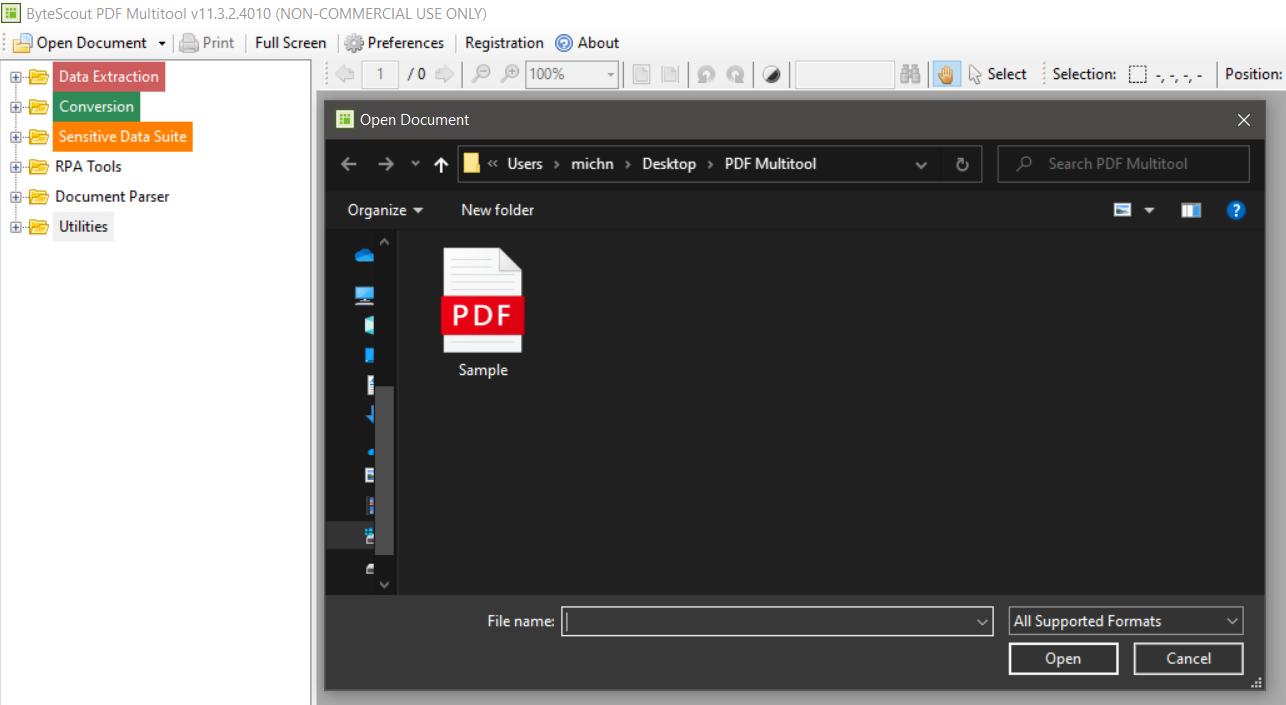 Open Document In PDF Multitool