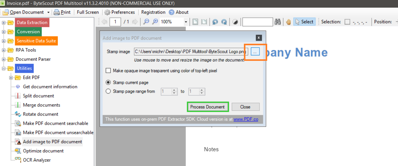 Open The Stamp or Logo In PDF Multitool