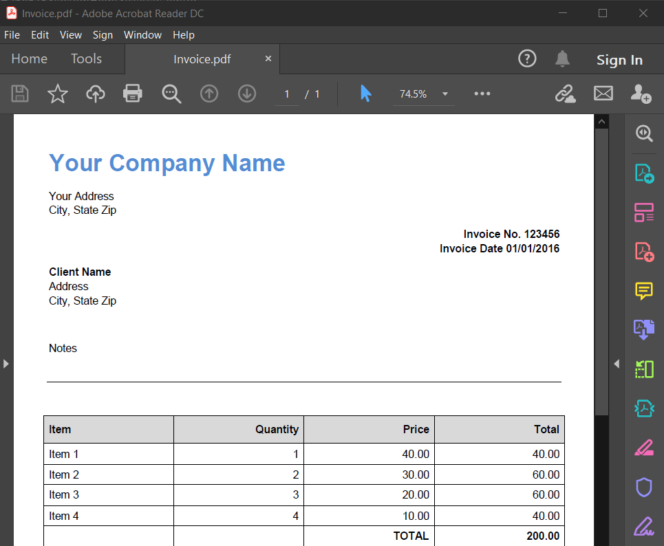 Invoice PDF Source File