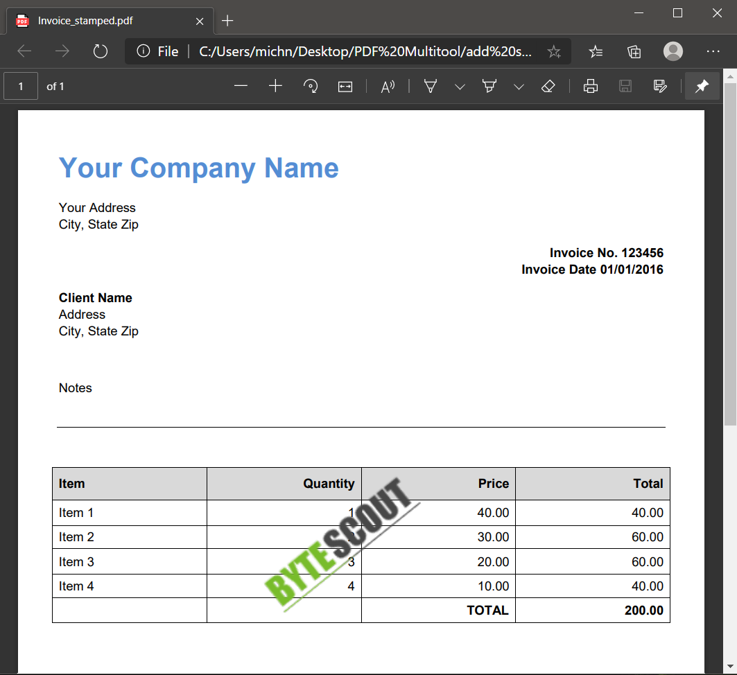 PDF Invoice With Stamp Output