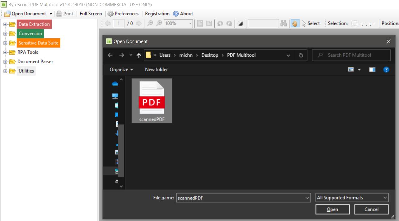 Open Scanned PDF In PDF Multitool