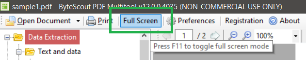 PDF Multitool Full Screen Mode