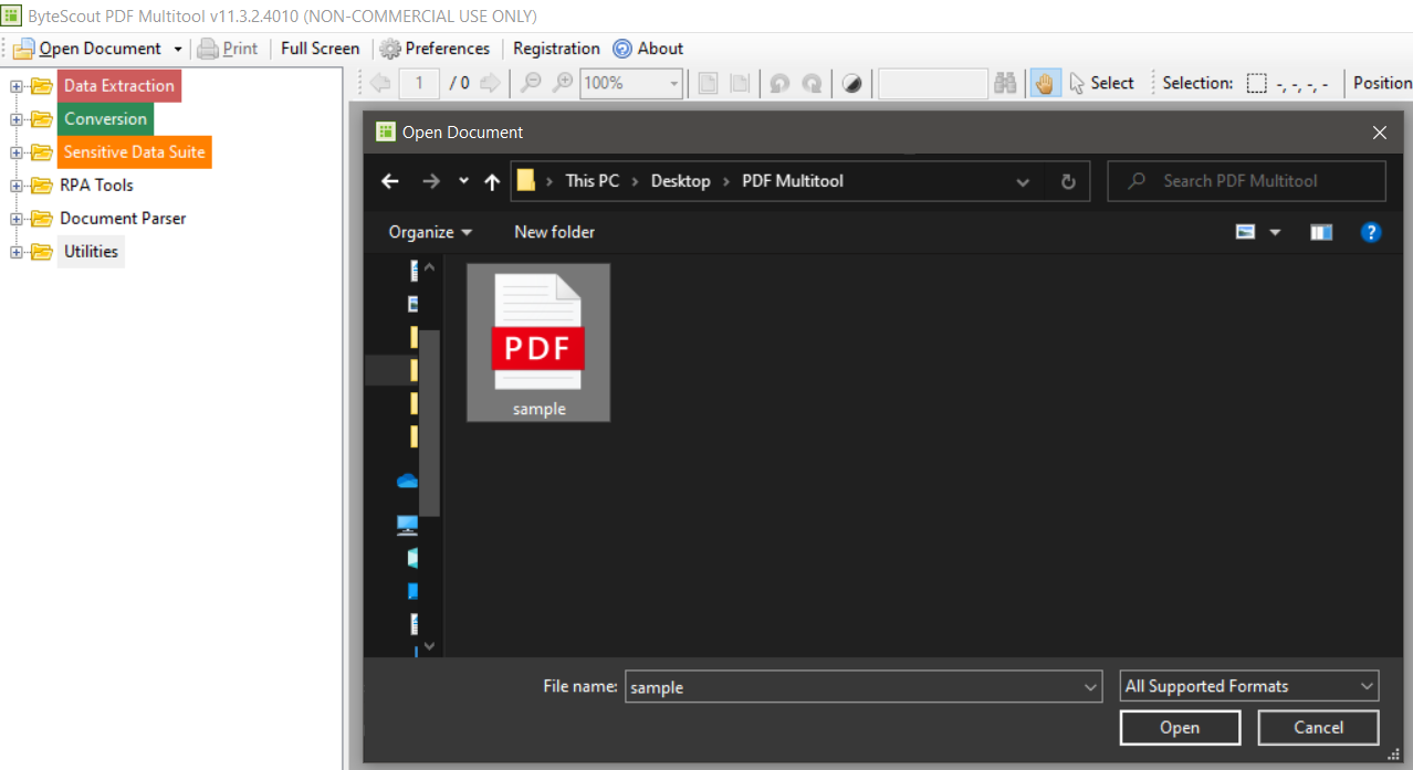 Open Sample PDF in PDF Multitool