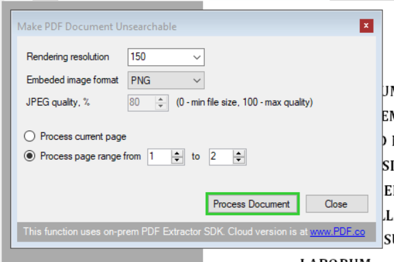 Make PDF Document Unsearchable Settings Page