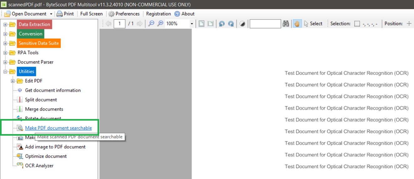 Make PDF Document Searchable Function