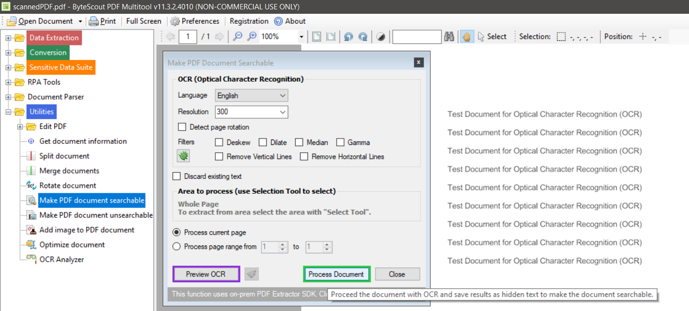 Make PDF Document Searchable Settings Page
