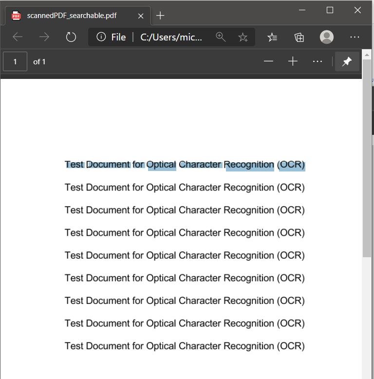 Searchable PDF Output File