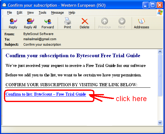 Confirmation e-mail screenshot - click the link to confirm the subscription