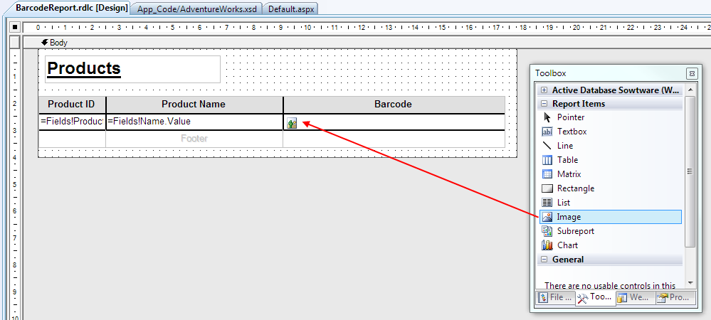 How to add Barcode to Local Reports (RDLC) before report