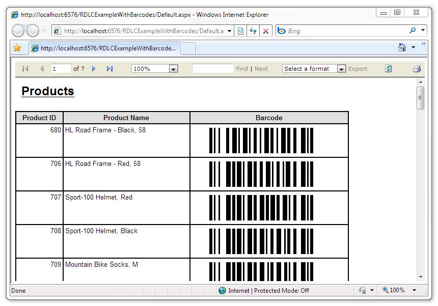 Barcode images displayed in the report
