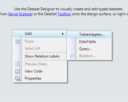 Run TableAdapter Configuration Wizard