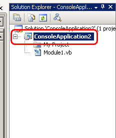 Select ConsoleApplication2 in the Solution Explorer
