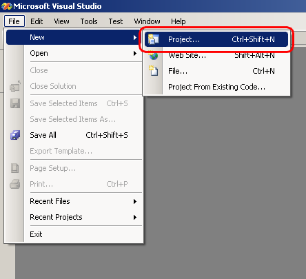 Visual Studio 2005 - New Project command in menu