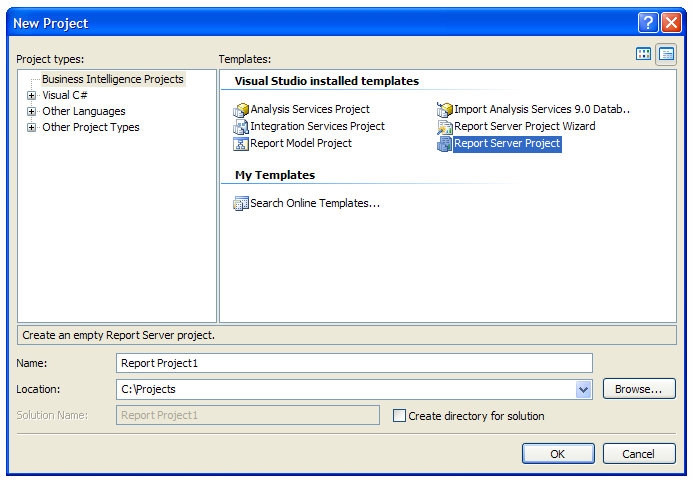 Create new Report Server Project in Visual Studio