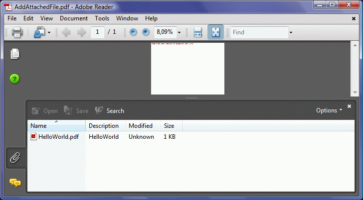 screenshot of PDF document with file attachment embedded into PDF document using ByteScout PDF SDK