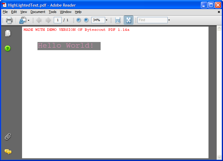 PDF with hightlighted text  added using ByteScout PDF SDK