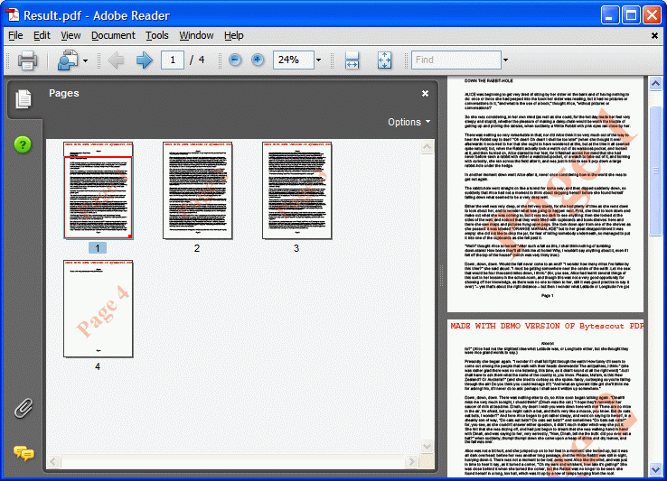 output PDF document with semitransparent text watermarks added