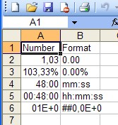 Different number formats are shown in the generated spreadsheet