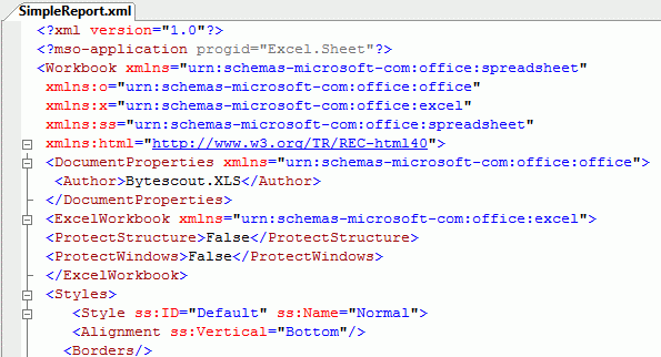XML generated by Bytescout Spreadsheet SDK from source Excel document