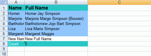 Modified Excel document with new row inserted
