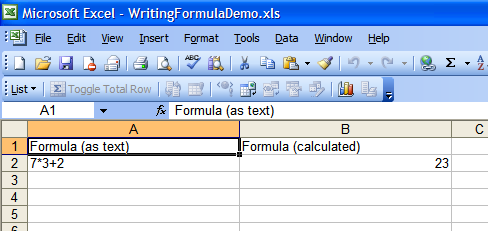 formula in a cell was automatically calculated and displayed in Excel