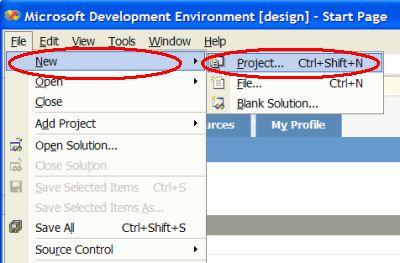 VC# IDE file menu