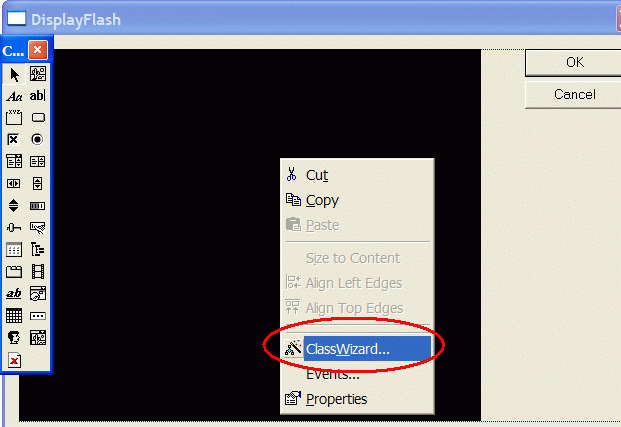 Use context menu to invoke Class Wizard