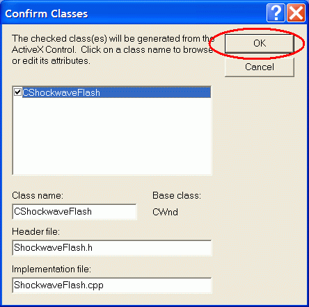 Confirm class generation for Shockwave Flash Object