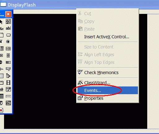 Use context menu to invoke Events dialog