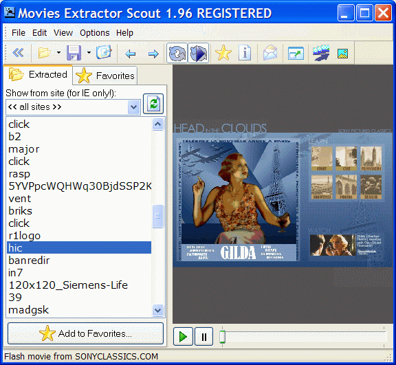Movies Extractor Scout main window with flash movie playing
