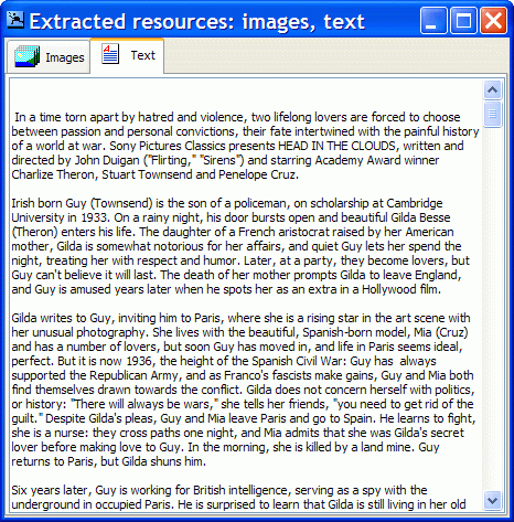 Extracted text from flash