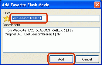 Enter title for selected flash movie to be added to Favorites