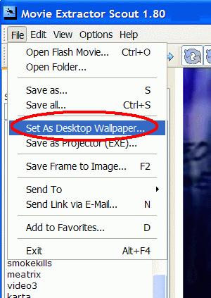 Set as Desktop Wallpaper command will set flash as wallpaper