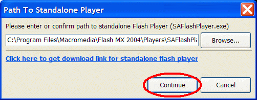 Path to Standalone Flash player
