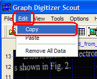 Copy command in Edit menu to copy digitized data to clipboard