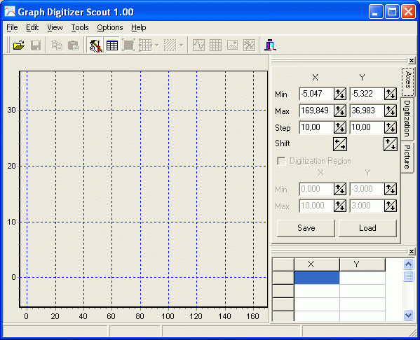Graph Digitizer Scout software main window