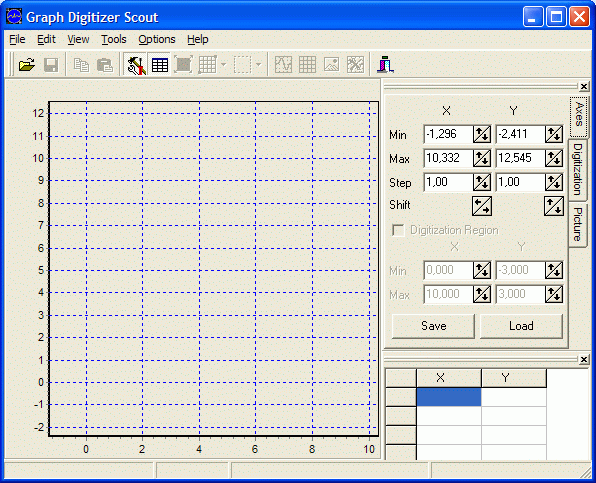 Graph Digitizer Scout software running