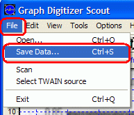 Save Data command in File menu to save data to file