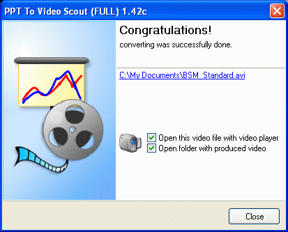 Final page with information about produced video file