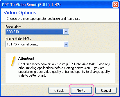 Select frame rate and resolution