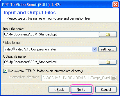 PPT To VIdeo Scout started with presentation files selected
