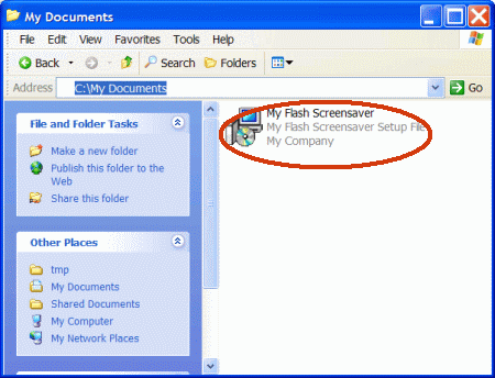 exe installer of flash screensaver in windows explorer