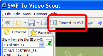 Convert to AVI button on the main toolbar