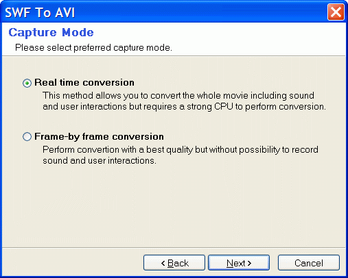Select Real-Time conversion mode or Frame-By-Frame conversion mode