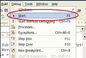Run project menu command