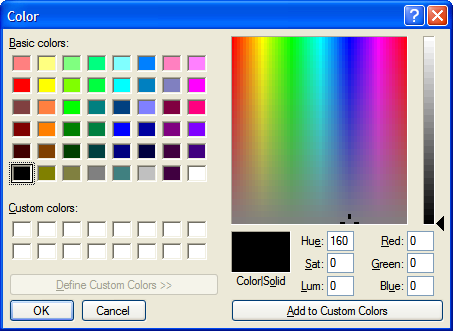 Watermark text color selection dialog