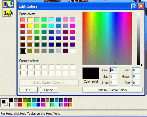 Edit colors dialog