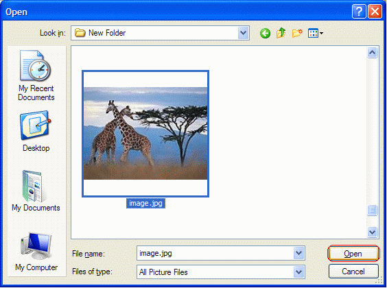 Select picture to open  in Windows Paint and click Open button