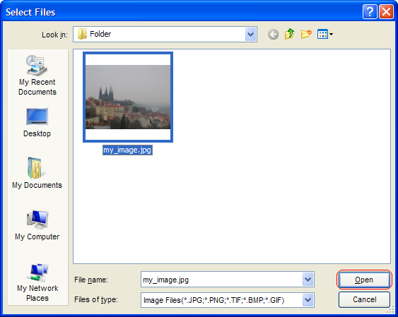 Select pictures to add for watermark protection and click Open