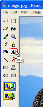 Click A symbol button to enable text tool in Paint
